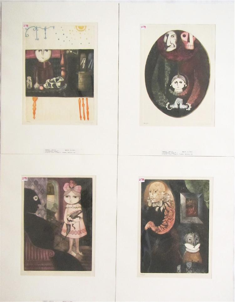 LETICIA TARRAGO, FOUR ETCHINGS AND AQUATINTS (Mexi