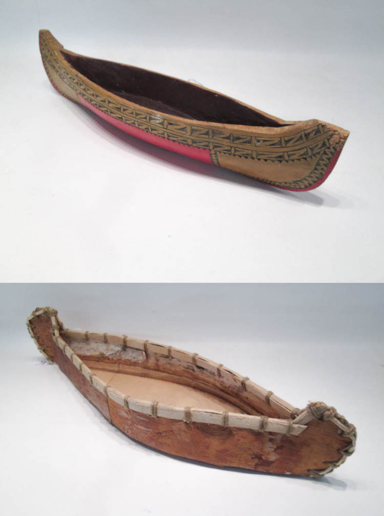 TWO NORTHWEST NATIVE AMERICAN CANOE MODELS the fir