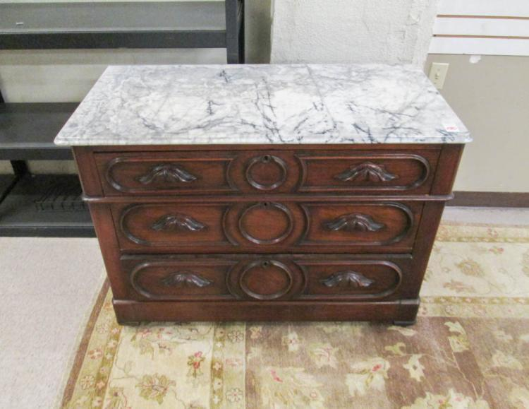 A VICTORIAN MARBLE-TOP WALNUT CHEST, American, c.