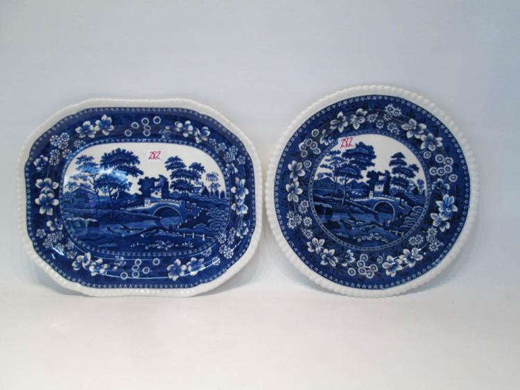 TWO SPODE PORCELAIN PLATTERS in the