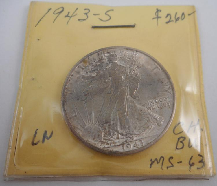 U.S. SILVER HALF DOLLAR, Walking Liberty type, 194