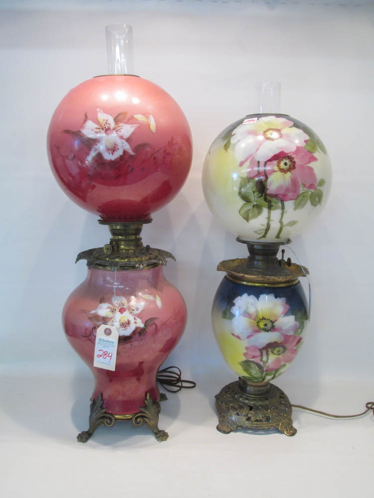 TWO HAND PAINTED GONE WITH THE WIND STYLE LAMPS ha