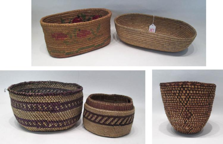 FIVE NORTHWEST NATIVE AMERICAN WOVEN ITEMS:  Quina