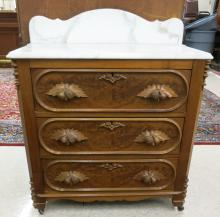 A VICTORIAN MARBLE-TOP WALNUT WASHSTAND, American,