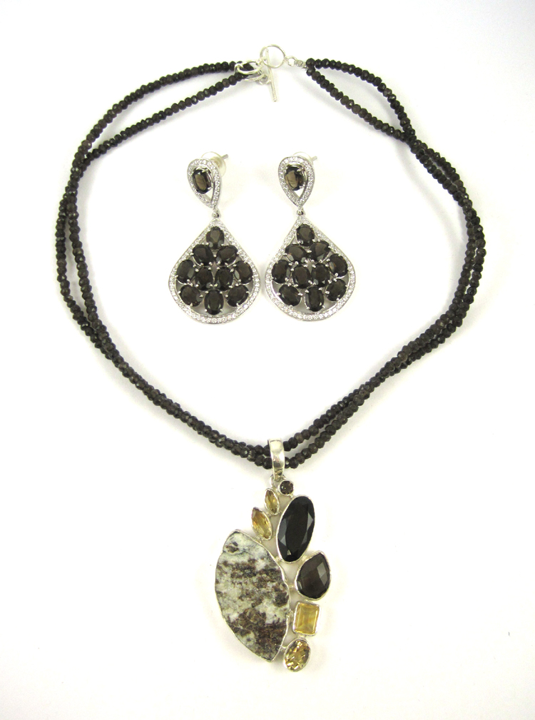 THREE ARTICLES OF SMOKY QUARTZ AND STERLING JEWELR