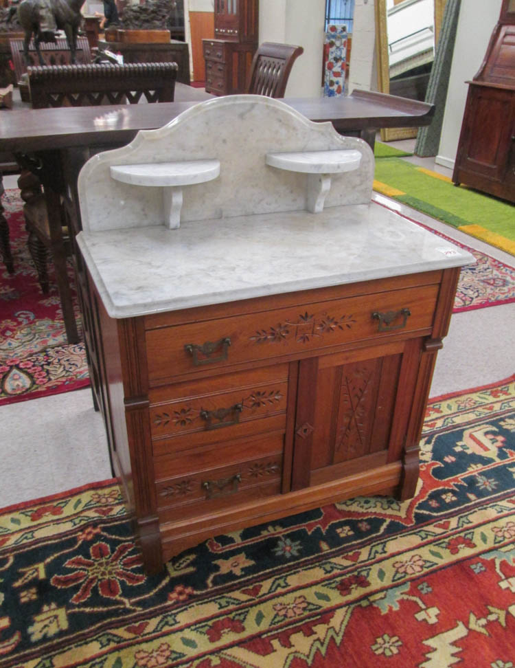 A VICTORIAN MARBLE-TOP WASHSTAND/COMMODE, Charles