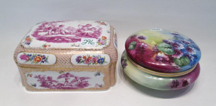 TWO PORCELAIN LIDDED VANITY BOXES including a rect