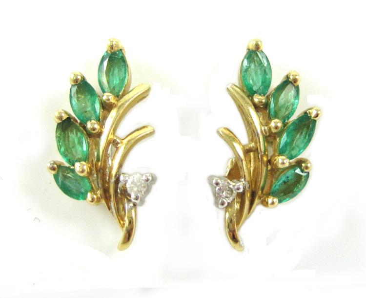 PAIR OF EMERALD AND DIAMOND EARRINGS, each 14k yel