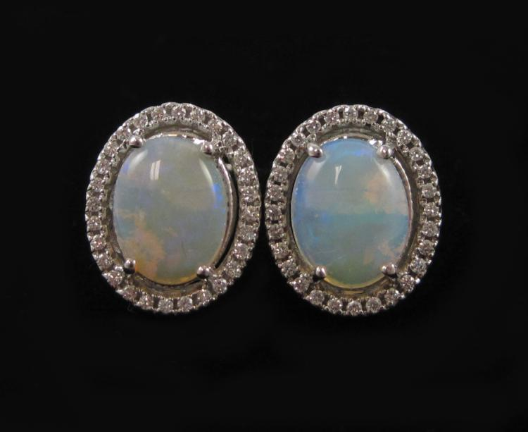 PAIR OF JELLY OPAL AND DIAMOND EARRINGS, each 14k