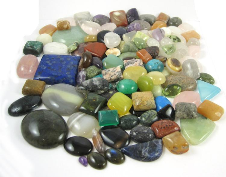 COLLECTION OF ONE-HUNDRED-THIRTY TUMBLED GEMSTONES