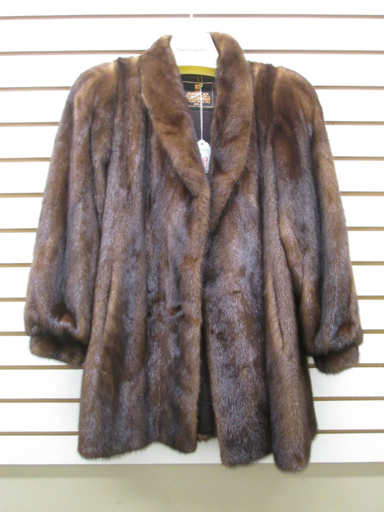 LADY'S MINK COAT, brown fur, having two hook and e