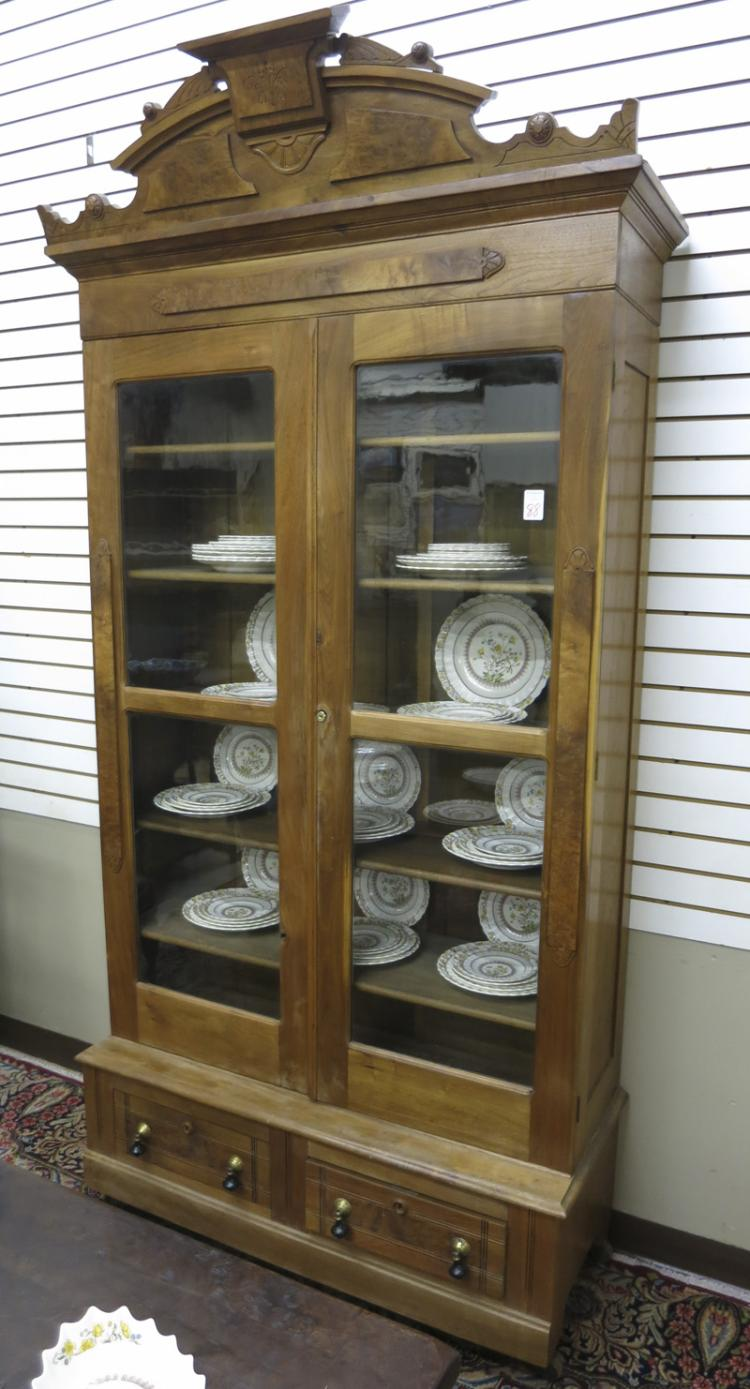 VICTORIAN WALNUT CABINET BOOKCASE ON BASE, America