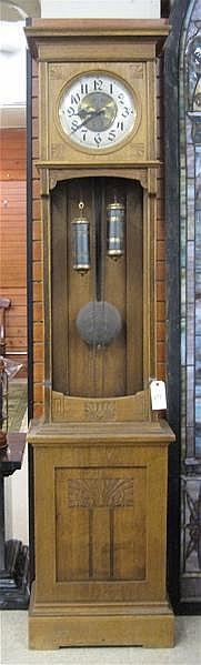 AN OAK OPEN WELL GRANDFATHER FLOOR CLOCK, German,