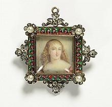 PORTRAIT PENDANT/BROOCH, featuring a painted bust