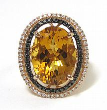 GOLD CITRINE, BLACK AND WHITE DIAMOND, AND