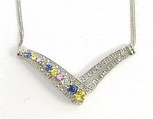 DIAMOND, MULTI-COLOR SAPPHIRE AND 14K WHITE GOLD PENDANT NECKLACE