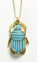 TURQUOISE AND FOURTEEN KARAT GOLD BEETLE PENDANT