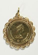 GOLD COIN AND FOURTEEN KARAT GOLD PENDANT,