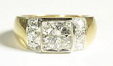 MAN'S DIAMOND AND FOURTEEN KARAT GOLD RING,