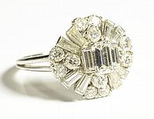 ESTATE DIAMOND AND PLATINUM RING, featuring an