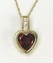 GARNET HEART, DIAMOND AND 14K GOLD PENDANT NECKLACE