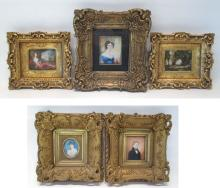 FIVE FRAMED ORIGINAL PORTRAIT AND LANDSCAPE PAINTI