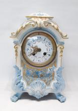 CHINA CASE MANTEL CLOCK, with time and bell strike