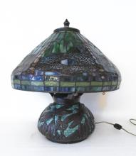 LEAD GLASS DRAGONFLY TABLE LAMP, domed shade stain