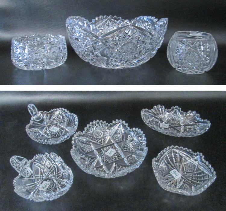 EIGHT CUT CRYSTAL TABLE WARE PIECES including two