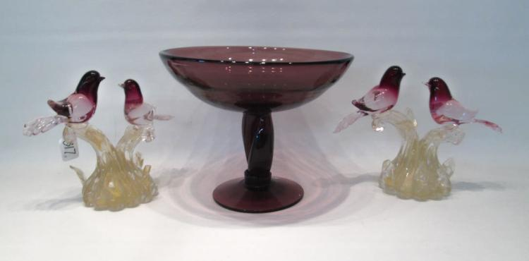 THREE-PIECE ASSEMBLED MURANO GLASS CONSOLE GROUP,