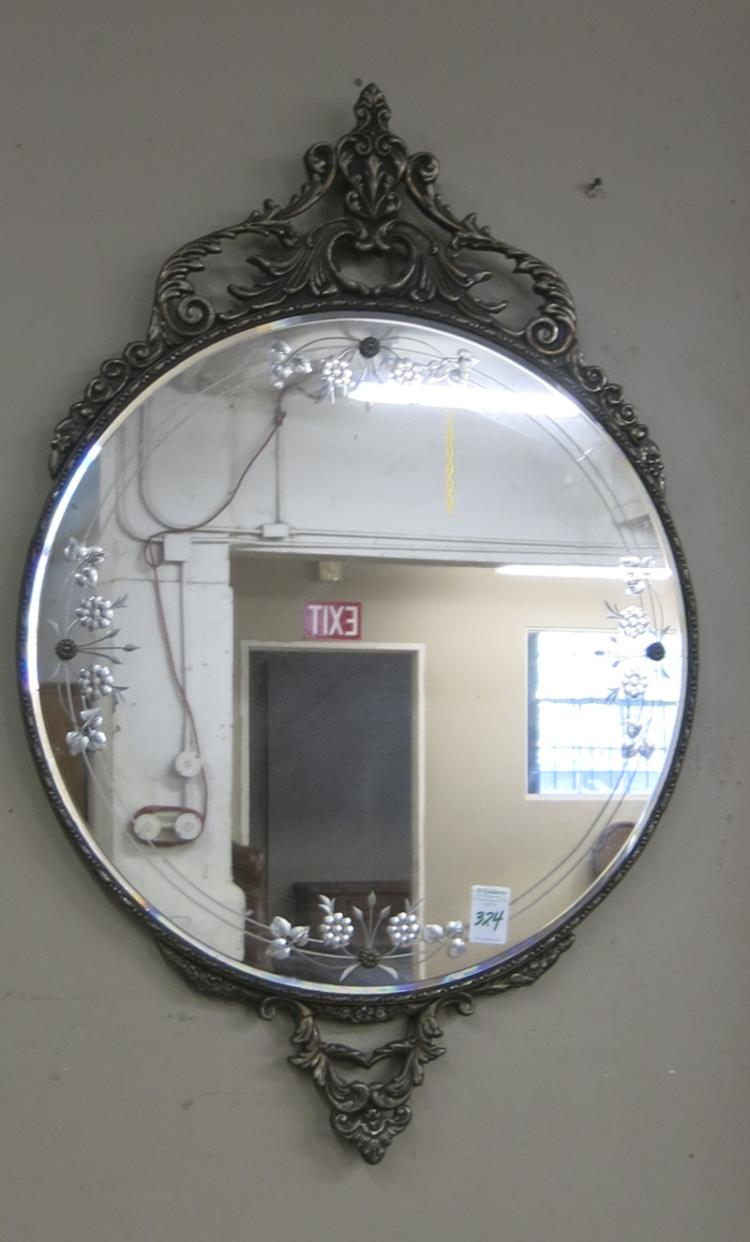 ROUND WALL MIRROR, American, c. 1920s, with revers
