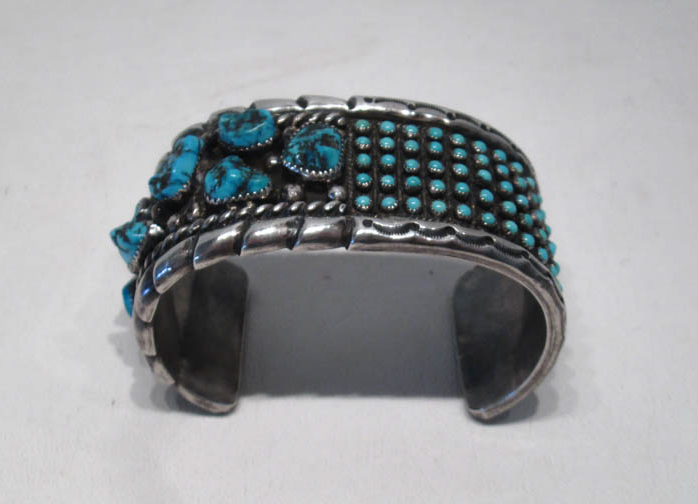 OLD PAWN SILVER AND TURQUOISE BRACELET having seve