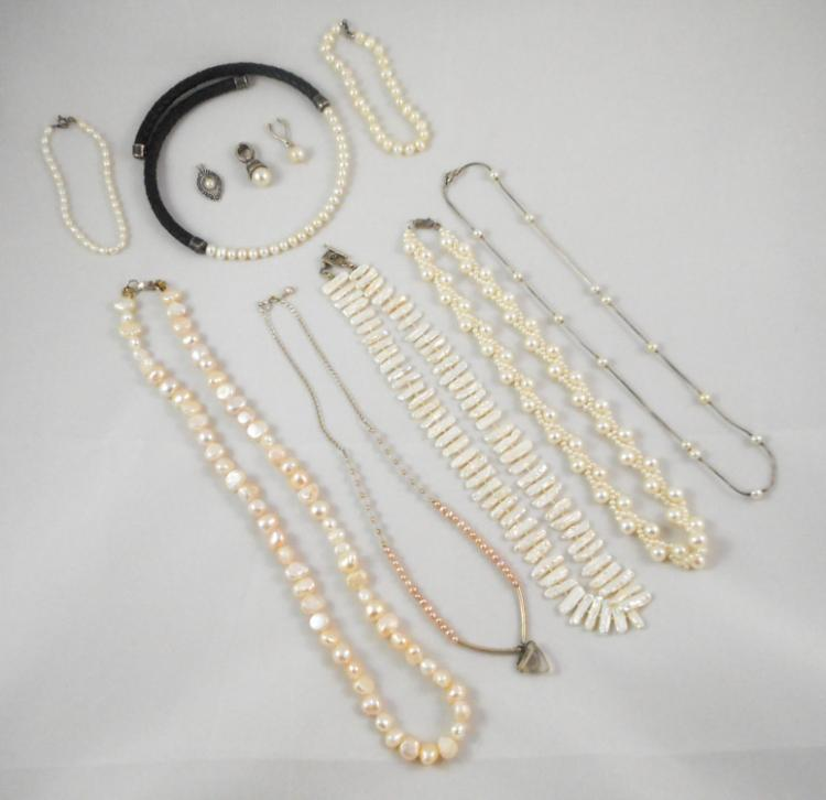 ELEVEN PIECES SILVER AND PEARL JEWELRY including o