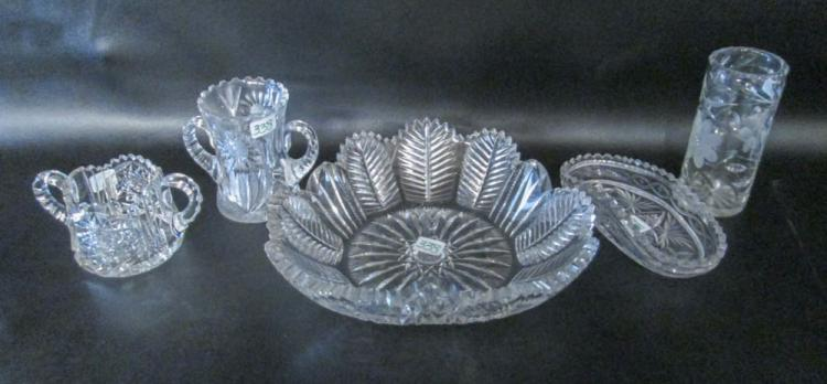 FIVE CUT CRYSTAL TABLEWARE PIECES including a larg