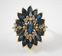 SAPPHIRE, DIAMOND AND FOURTEEN KARAT GOLD RING, se
