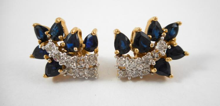 PAIR OF SAPPHIRE AND DIAMOND EARRINGS, each 14k ye