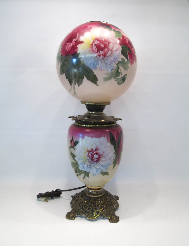 HAND PAINTED GONE WITH THE WIND STYLE LAMP having