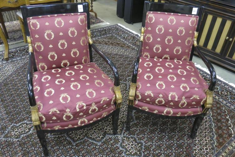 A PAIR OF NEOCLASSICAL STYLE ARMCHAIRS, A. Rudin D