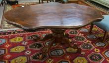 VICTORIAN STYLE BURL WALNUT AND MAHOGANY CENTER TA
