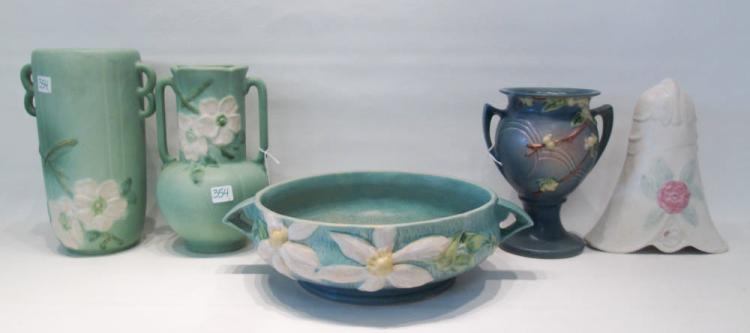 FIVE AMERICAN ART POTTERY VESSELS including a Hull
