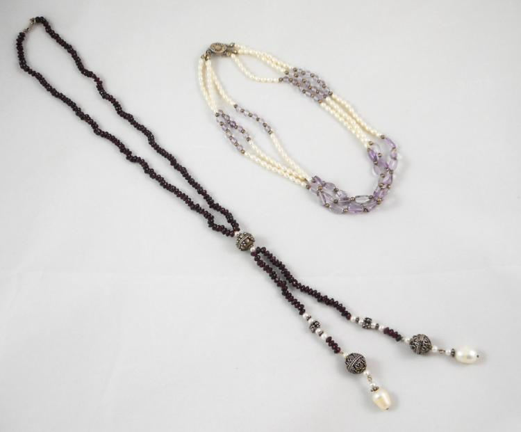 TWO COLORED GEMSTONE AND PEARL NECKLACES, includin