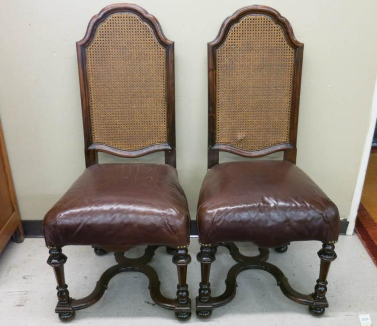 A SET OF SIX MAHOGANY CANED-BACK DINING CHAIRS, Wi