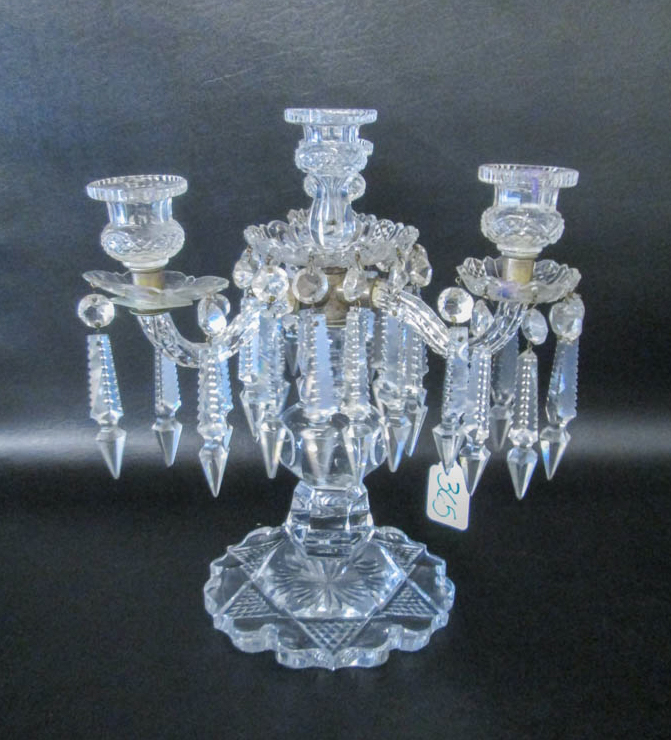 CUT CRYSTAL LUSTRE, with four-light candle holders