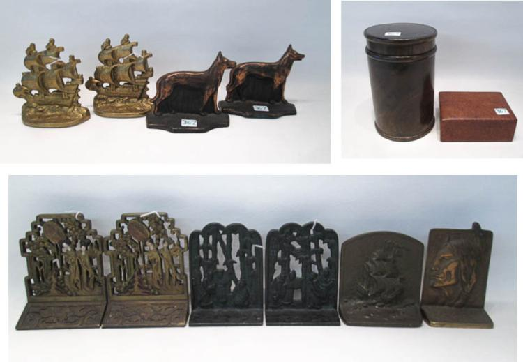 ASSORTED BOOKENDS AND WOOD BOXES: 4 pairs and 2 s