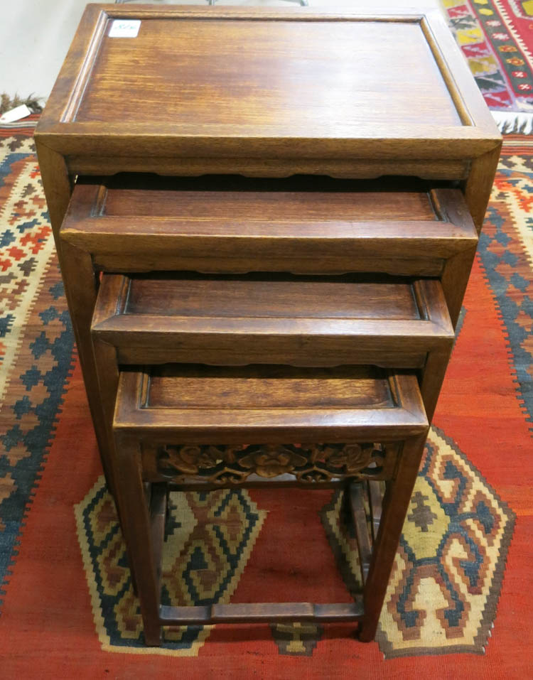 CHINESE NESTING TABLE SET, comprising four graduat
