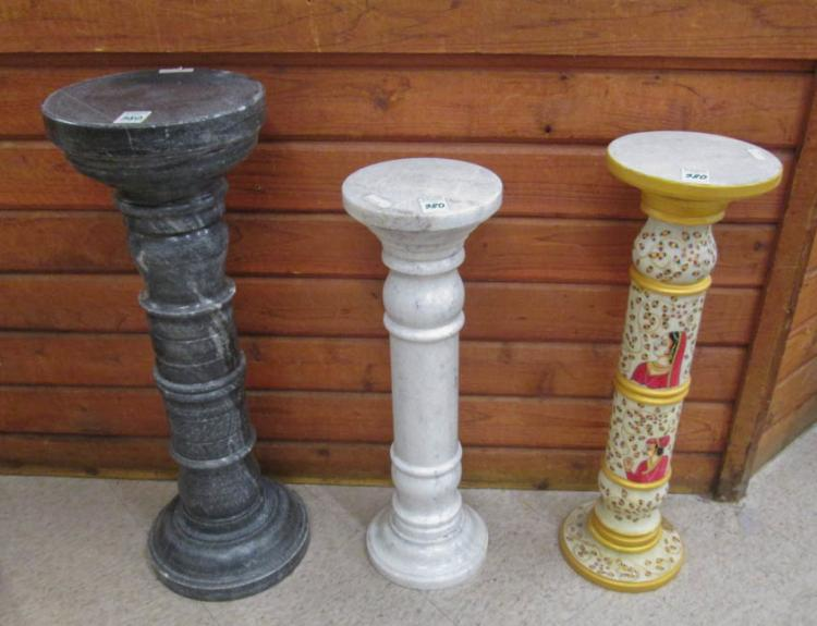 THREE MARBLE PEDESTALS:  1) white carrara, 28