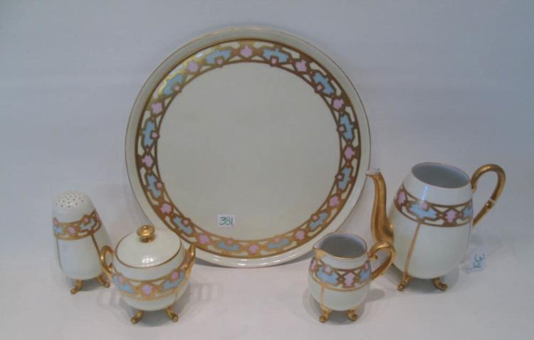 BAVARIAN PORCELAIN TEA SERVICE including round tra