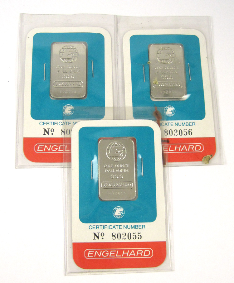 THREE ENGELHARD PALLADIUM INGOTS, each a one troy