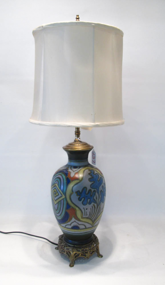 GOUDA POTTERY TABLE LAMP, the base in traditional