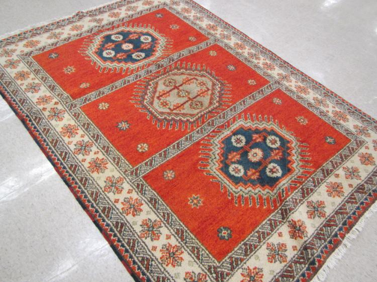 HAND KNOTTED ORIENTAL CARPET, Indo-Caucasian, feat